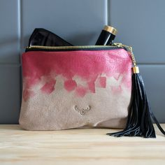 Recycled make up bag - hand painted