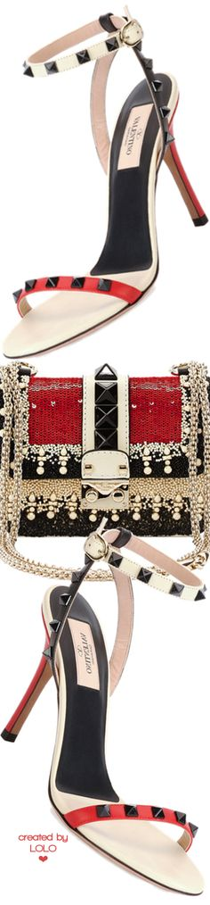 Valentino Mini Embellished Shoulder Bag and Rockstud Lacquer-Stud Ankle-Wrap Sandal | LOLO❤︎