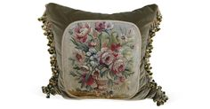 Pillow made with 19th-C. wool floral Aubusson textile,  cotton velvet background and Belgian linen back. Silk tassel fringe. Sewn shut.