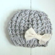 knit baby girl hat with bow, newborn hat, infant sizes made to order by Sweet Baby Dolly on Etsy. $21.00, via Etsy.