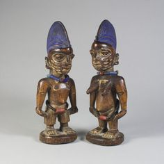 1. Ibeji twin figures  2. Yoruba Culture  3. African 20th century  4. wood  5. Yoruba, Nigeria  6. The University of Iowa Museum of Art, Iowa City  7. ere ibeji- twin  8. This was influenced by the belief of the need for somewhere for a deceased twins spirit to reside.  9. yes  10. none
