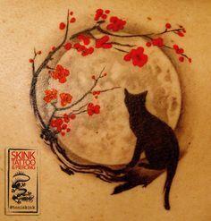 Tattoo Lua Gato Sakura @ToniSkink #MoonTattooIdeas