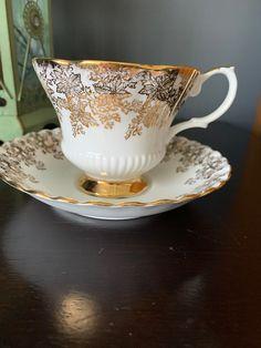 Vintage Royal Albert Teacup and Saucer, Stunning, Gold Gild, Elegant Set for an Afternoon Tea, England, Bone China,