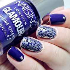 Born Pretty Blue and Silver Filigree Floral Theme Nail Art Stamping Image Plate 01 : Beauty