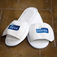 3a6fd6b6fffa Waffle weave slipper with Velcro® closure for easy embroidery and skid  resistant EVA sole. One Size Fits Most.
