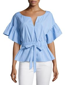Vivian + Drawstring Waist + Stretch Poplin + Top + by + Milly + at + Neiman + Marcus.another great look for the rectangle body. This top has many things going for it. The small v the sleeves and the ruffle at the waist all this creates a curve for ty Red Blouses, Shirt Blouses, Blouses For Women, Chiffon Blouses, Blouse Styles, Blouse Designs, Beautiful Blouses, Mode Style, Black Blouse