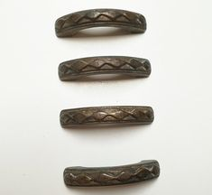 Set of 4 vintage antique italian handles furniture. Old metal brass knobs. From Italy. Rustic industrial style