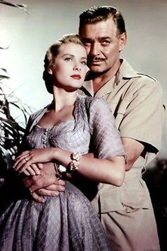 A publicity picture of the great and king of Hollywood Clark Gable and Princess Grace Kelly for the promotion of Mogambo. Old Hollywood, Golden Age Of Hollywood, Hollywood Glamour, Hollywood Stars, Classic Hollywood, Clark Gable, Classic Movie Stars, Classic Movies, Tyrone Power