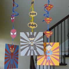 DIY Printable Super Hero hanging decorations with Spiderman, Batman & Superman.