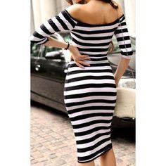 Black Boat Neck Striped Bodycon Dress