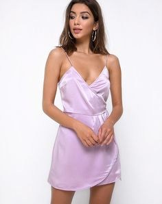 5ee637357e Furia Slip Dress in Satin Lilac by Motel