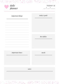 Pink & White Minimalist Simple Daily Planner