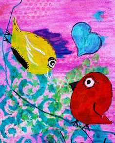 Love Birds  Quirky Bird Series by HylaWaldronArtist on Etsy (Art & Collectibles, Mixed Media & Collage, rainbow, swirls, males, hexagons, funky, heart, turquoise, curious, same sex love, happy gay, bird couple, valentine love fun, quirky birds)