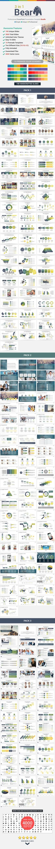 3 in 1 Bear PowerPoint Template Bundle #design #slides Download: http://graphicriver.net/item/3-in-1-bear-powerpoint-template-bundle/13028387?ref=ksioks