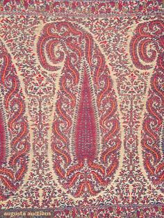 Augusta Auctions, April 2009 Vintage Fashion and Textile Auction, Lot 24: Wool Paisley Shawl, Early 19th C