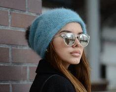 Angora knit hat Winter slouchy hat Gift for her Winter hat Oversized knitted hat Fur pompom beanie Women hats Fur pompom hat Valentines gift #HatsForWomenDIY