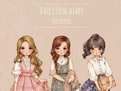 Daily look diary por Aeppol Cartoon Drawings, Cartoon Art, Cute Drawings, Portrait Illustration, Illustration Girl, Watercolor Girl, Girls Diary, Forest Girl, Hipster Girls