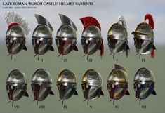Late Roman 'Burgh Castle' Helmet by RobbieMcSweeney on DeviantArt Ancient Armor, Medieval Armor, Les Runes, Roman Helmet, Roman Armor, Rome Antique, Roman Britain, Roman Legion, Roman Soldiers