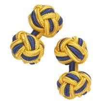 Navy and gold silk knot cufflinks - Charles Tyrwhitt