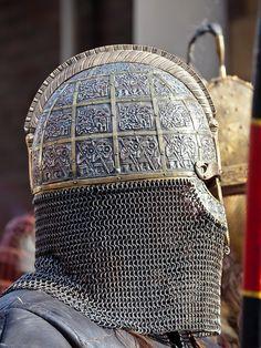 Valsgarde 7 helm recreation from Wulfheodenas. Viking Armor, Viking Helmet, Viking Runes, Arm Armor, Armadura Medieval, Knight In Shining Armor, Knight Armor, Medieval Knight, Medieval Armor
