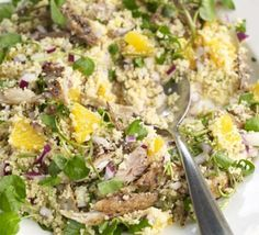 Smoked mackerel, orange & couscous salad recipe, Sliced oranges make a refreshing addition to this substantial salad Curry Recipes, Fish Recipes, Seafood Recipes, Mild Chicken Curry Recipe, Smoked Mackerel Salad, Bbc Good Food Recipes, Healthy Recipes, Healthy Food, Gourmet