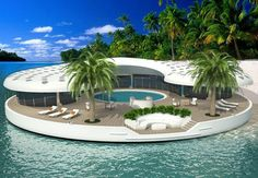 The Ome Floating Island Home is a project for self-sustainable, providing its own water, waste management, infrastructure and irrigation support island. Three hundred man-made islands are to be built near the coast of Dubai. These luxurious Ome islands are to maintain all the needs and whims of a millionaire for as barely little over $22 million.