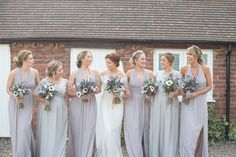 Long Bridesmaid Dresses Copper Dusky Lilac Grey Rustic Barn Wedding http://www.kayleighpope.co.uk/