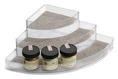 mDesign Spice Rack Organizer for Kitchen Pantry Cabinet Countertops - Corner Metallic/Clear