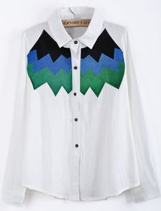 White Lapel Long Sleeve Zigzag Embroidered Blouse - Sheinside.com