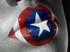 Captain America; lip art photograph by Jonathan Knowles and make-up by artist Celine Nonon.  #Halloween #lipart #makeup