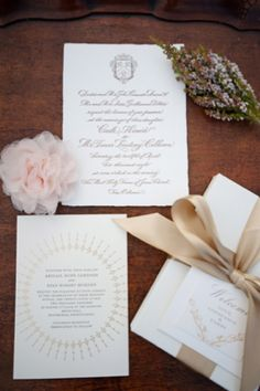 Invitation suite with a champagne colored ribbon | Jessica Maida Photography | see more on http://burnettsboards.com/2014/02/stylized-bridal-portraits-pink-dress-matching-cake/