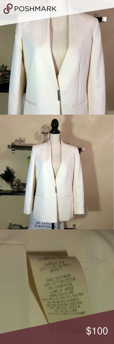 Helmut Lang Plunging-V Fitted Blazer Plunging-V Textured Fitted Blazer Size: 6 Gorgeous tailored cotton and wool blend blazer with a plunging-V r by Helmut Lang. Two front faux besom pockets, concealed button cuffs, a concealed snap closure, and a back yoke. Helmut Lang Jackets & Coats Blazers