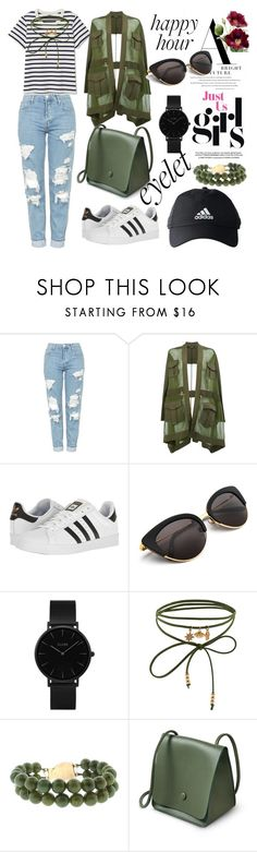 """""""For you!!"""" by david111 ❤ liked on Polyvore featuring Topshop, Balmain, adidas, CLUSE and Accessorize"""