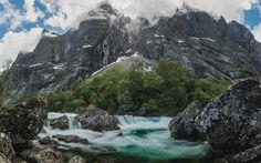 Download wallpapers Mountain river, rocks, mountains, mountain landscape, Norway, Rauma, Trollveggen