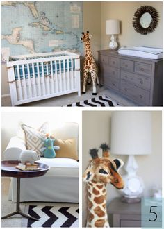 Really like the map on the wall. Adorable nursery. E's room.