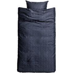 H&M Jacquard-weave Satin Duvet Set $34.99 (245 DKK) ❤ liked on Polyvore featuring home, bed & bath, bedding, duvet covers, navy bedding, satin bedding, navy blue bedding, dark blue bedding and satin duvet set
