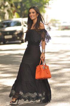ELEGANT BLACK #HermesBag #BrazilianBlogger #MaxiDress NEGRO ELEGANTE #BlogueraBrasileña #VestidoLargo