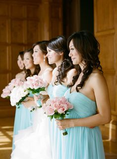 #Bridesmaids | Soft and flowing | Aqua + Light Pink Roses | See the wedding on SMP - http://www.StyleMePretty.com/2014/01/13/los-angeles-wedding-at-the-park-plaza/  Esther Sun Photography
