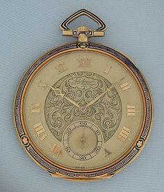 18K gold and enamel Art Deco vintage pocket watch (circa 1920), by Jules Jurgensen #watch #pocketwatch