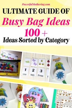 I love busy bags! Do you too? These fun-filled bags full of reusable activities for your child will keep them busy and curious! Check out the blog for more details on the ultimate guide of busy bag ideas! With over a hundred and more ideas sorted by category, these unique ideas will keep your child happy and engaged! From free printable with topics about numbers and the alphabet to color and shape-themed activities, these busy bag ideas are super perfect for your child! #diycrafts #kidactivties Sensory Toys, Sensory Activities, Preschool Activities, Easy Arts And Crafts, Diy Crafts, Fine Motor Activities For Kids, Homemade Paint, Educational Crafts, Thing 1