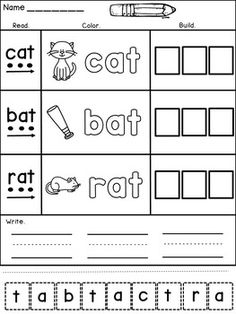 Practice CVC words in a FUN and EFFECTIVE way! This resource contains engaging worksheets with three CVC words per page. The students will have to :*read the CVC words by sounding and blending (each sound is represented by a dot)* color the CVC pictures (for visual support)* color the word letters* build the words (cut and paste)* write the wordsHappy teaching!Dana's Wonderland