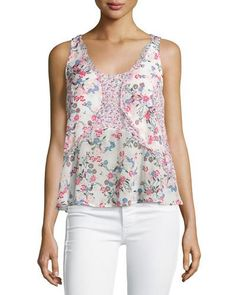 TCBJN French Connection Floral-Print Georgette Tank W/Ruffles, Porcelain Multi