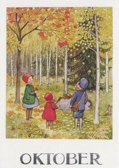 Vintage Books and Illustrators: Illustrator Elsa Beskow was a Work at Home Mom Art And Illustration, Illustrations Vintage, Elsa Beskow, Vintage Books, Vintage Cards, Vintage Images, Alphonse Mucha, All Nature, Autumn Art