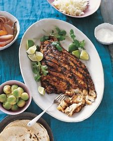 Rather than double-fry it as they do in Baja, we rubbed ours with three spices and grilled it. Try a tender, flaky variety such as red snapper or striped bass.