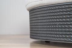 Un dettaglio del divano Scaccomatto, in versione silver | design robertopamio+partner www.staygreen.it