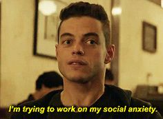 New party member! Tags: season 1 usa mr robot rami malek 1x01 elliot alderson social anxiety im trying to work on my social anxiety