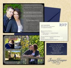 Chevron Photo Wedding Invitation Set by Jeneze on Etsy, $35.00