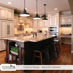 Go back a few years to 2010.  A painted and glazed kitchen with a contrasting island is still so beautiful today.  The paneled appliances and under cabinet lighting add traditional charm to this kitchen.  We service all areas from Charlotte to Asheville, plan to call us in 2017 to get a quote and we can make your kitchen look beautiful too! #throwbackThursday #walkerwoodworking #beautifulcabinets #shelbync #charlotte #asheville #designinspiration