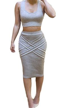 Eshion Womens High Elastic Sleeveless Tank Tops and Pencil Skirt Set GR_S >>> You can find more details by visiting the image link.