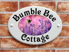 Cottage House Name Sign with bumblebee and lavender picture House Name Signs, House Names, Cottage House, Print Pictures, Pattern Art, Decorative Plates, Lavender, Patterns, Printed
